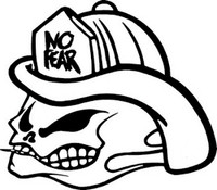 No Fear Skull Fire Fighter Decal