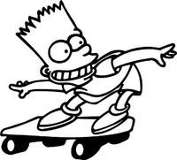 Bart Simpson Skateboarding Decal