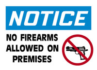 Notice No Firearms Allowed on Premises