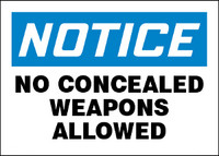 Notice No Concealed Weapons Allowed