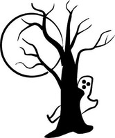 Happy Halloween Ghost Behind A Tree