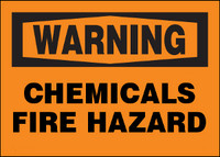 Warning Chemicals Fire Hazard Plastic Sign