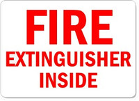 Fire Extinguisher Inside Plastic Sign