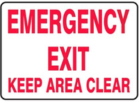 Emergency Exit Keep Area Clear Plastic Sign