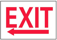 Exit With Left Arrow Plastic Sign