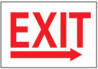 Exit With Right Arrow Plastic Sign