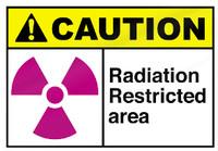 Caution - Radiation Restricted Area Aluminum Sign