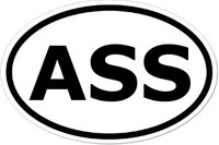 ASS Oval Bumper Sticker