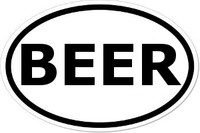 BEER Oval Bumper Sticker