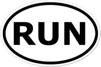 RUN Oval Bumper Sticker
