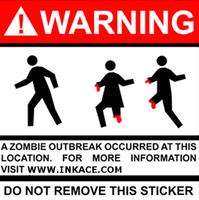 Warning Zombie Outbreak Sticker