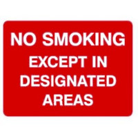 No Smoking Except In Designated Areas
