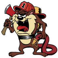 Firefighter Tasmanian Devil Color Sticker 1