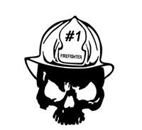 Fire Fighter Skull Decal 1