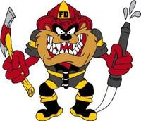 Firefighter Tasmanian Devil Color Sticker