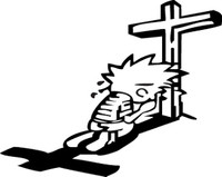Calvin Praying Decal