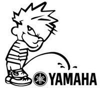 Pissing Calvin On Yamaha Decal
