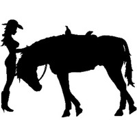 Cowgirl With Horse Decal