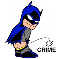 Pissing Batman On Crime Decal
