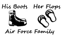 His Boot, Her Flops, Air Force Family Decal