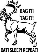 Bag it! Tag It!  Eat, Sleep, Repeat Hunting  Decal #2