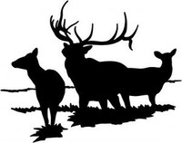 A Family Of Elk Decal