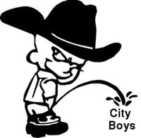 Pissing Country Calvin On City Boys Decal