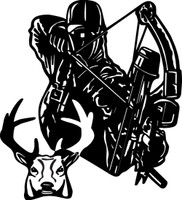 Bow Hunter and Buck Decal #1