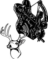 Bow Hunter and Buck Decal #3