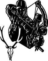 Bow Hunter and Buck Decal #5