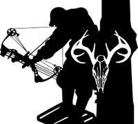 Bow Hunter and Buck Decal