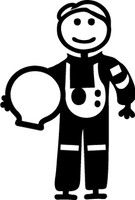 Astronaut Stick Figure Decal