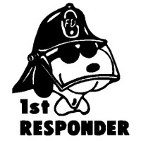 Snoopy Fire Fighter First Responder Decal