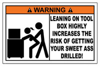 Warning Leaning On Tool Box Sticker