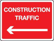 Construction Traffic With Left Arrow
