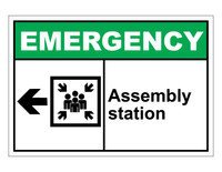 ANSI Emergency Assembly Station With Left Arrow