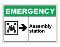 ANSI Emergency Assembly Station With Right Arrow