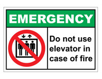 ANSI Emergency Do Not Use Elevator In Case Of Fire