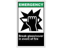 ANSI Emergency Break Glass/Cover In Event Of Fire 1