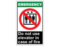 ANSI Emergency Do Not Use Elevator In Case Of Fire 1