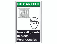ANSI Be Careful Keep All Guards In Place Wear Goggles 1