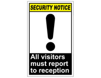 ANSI Security Notice All Visitors Must Report To Reception