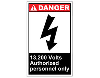 ANSI Danger 13,200 Volts Authorized Personnel Only 1