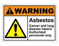 ANSI Warning Asbestos Cancer and Lung Disease Hazard