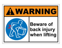 ANSI Warning Beware Of Back Injury When Lifting