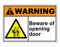 ANSI Warning Beware Of Opening Door