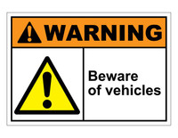 ANSI Warning Beware Of Vehicles