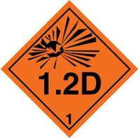 Class 1 Explosives 1.2 D Placard