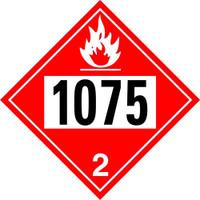 1075 LPG, Butane, Propane Class 2  Placard