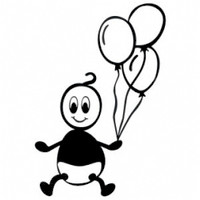 Baby With Balloons Stick Figure Decal